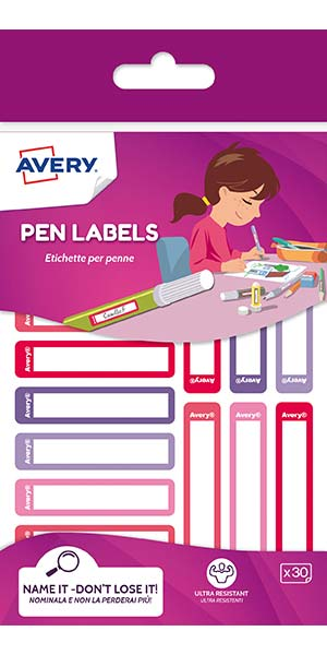 Pen/Stationery Labels - Pink/Purple